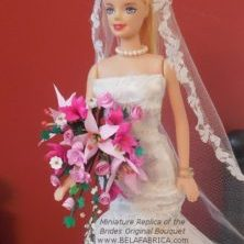 Miniature Bridal Bouquet Replica Custom Personalised Doll Barbie Flowers Keepsake Remembrance